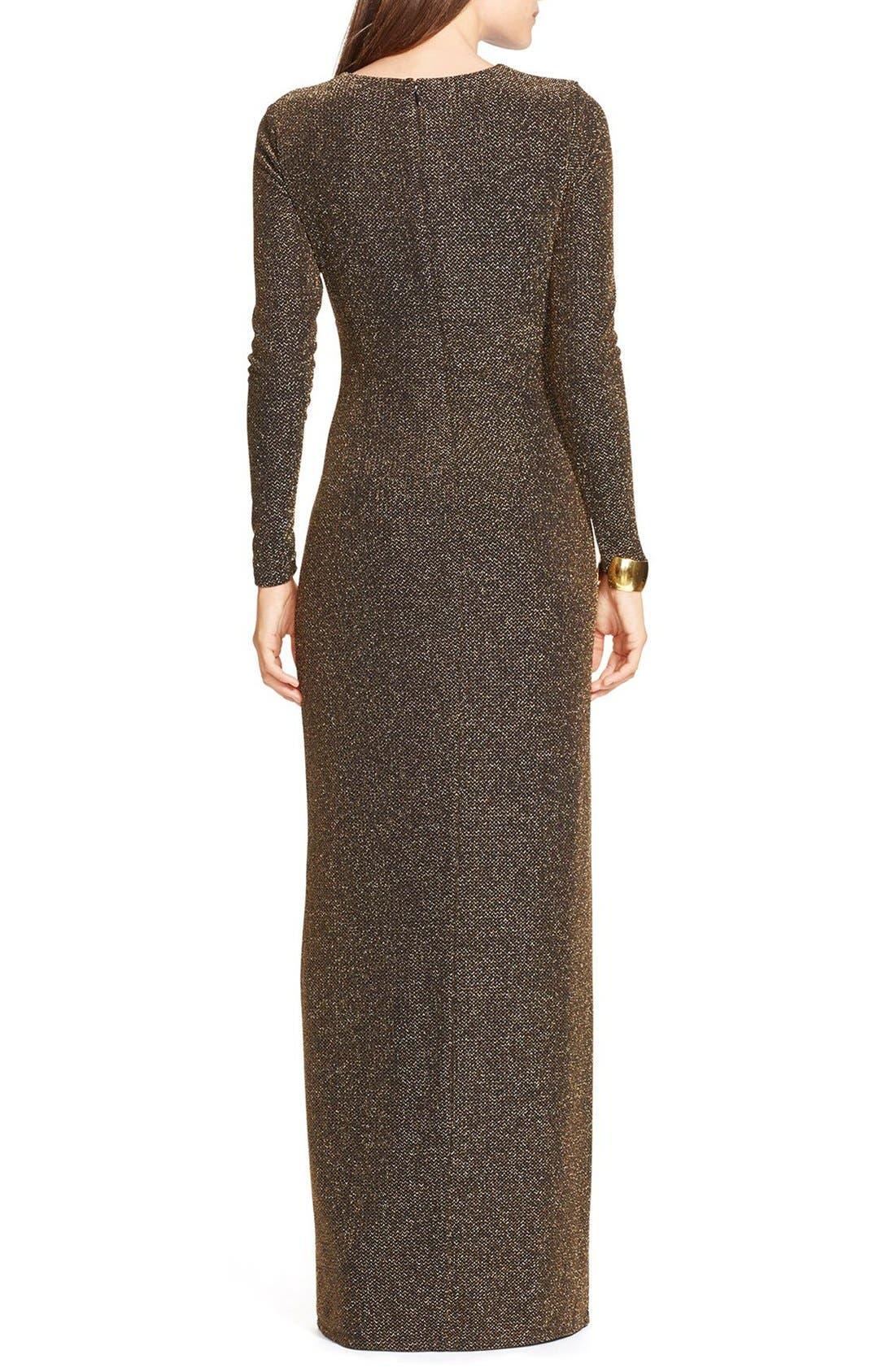 Alternate Image 2  - Lauren Ralph Lauren Metallic Gown (Regular & Petite)