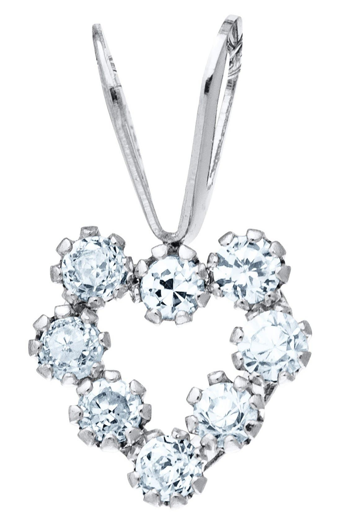 14k White Gold & Cubic Zirconia Heart Necklace,                         Main,                         color, Silver