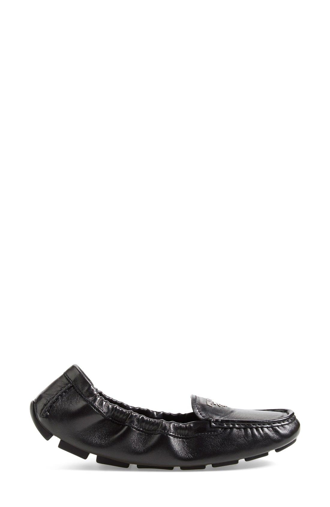 'Scrunch' Driving Loafer,                             Alternate thumbnail 4, color,                             Black Leather