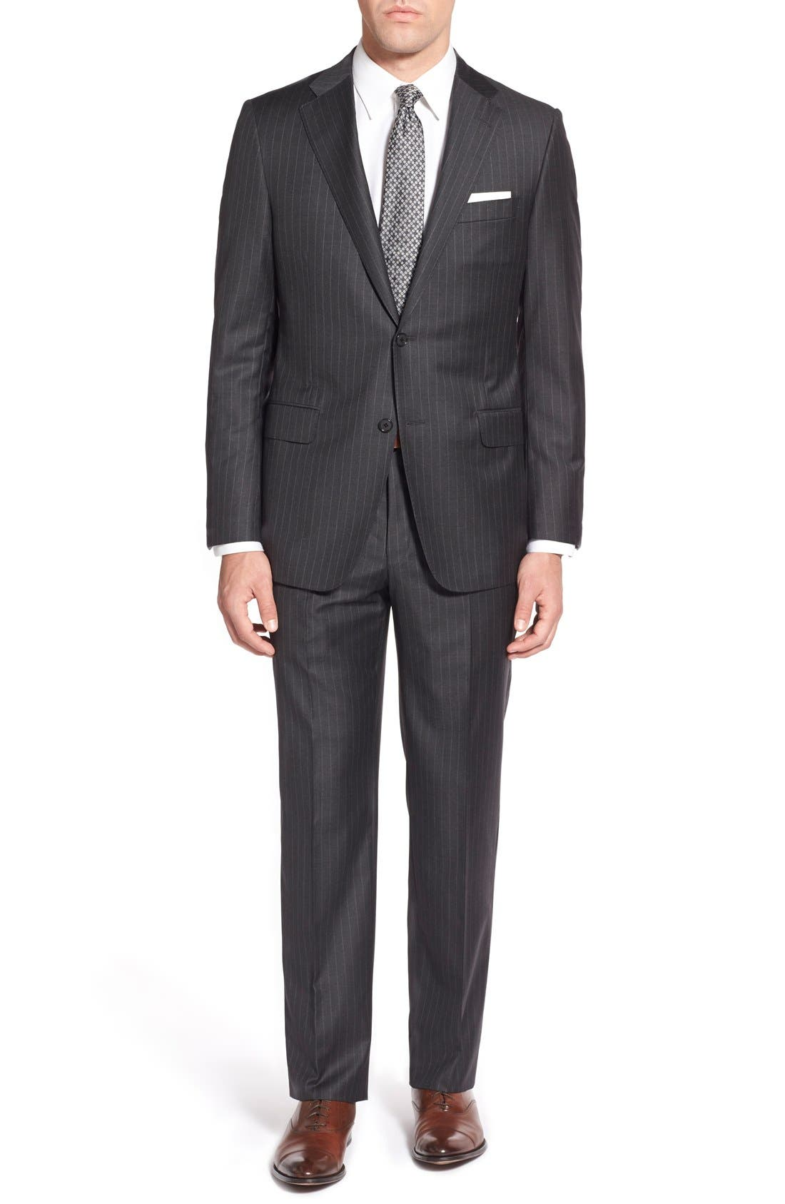 Main Image - Hickey Freeman 'Beacon - B Series' Classic Fit Stripe Wool Suit