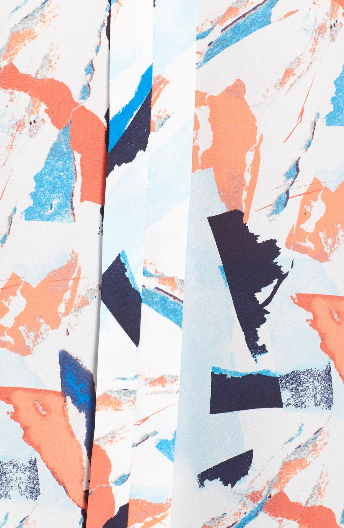 Sheer Sleeve Split Neck Blouse,                             Alternate thumbnail 5, color,                             Blue Abstract Ship Print