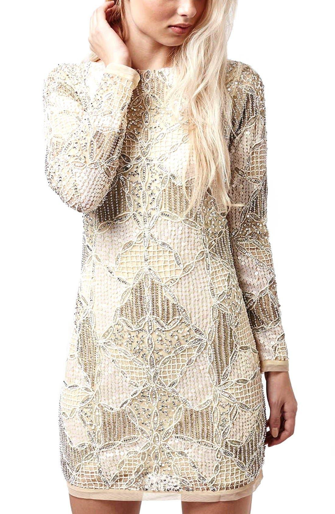Alternate Image 2  - Topshop 'Gigi' Embellished Body-Con Dress (Regular & Petite)