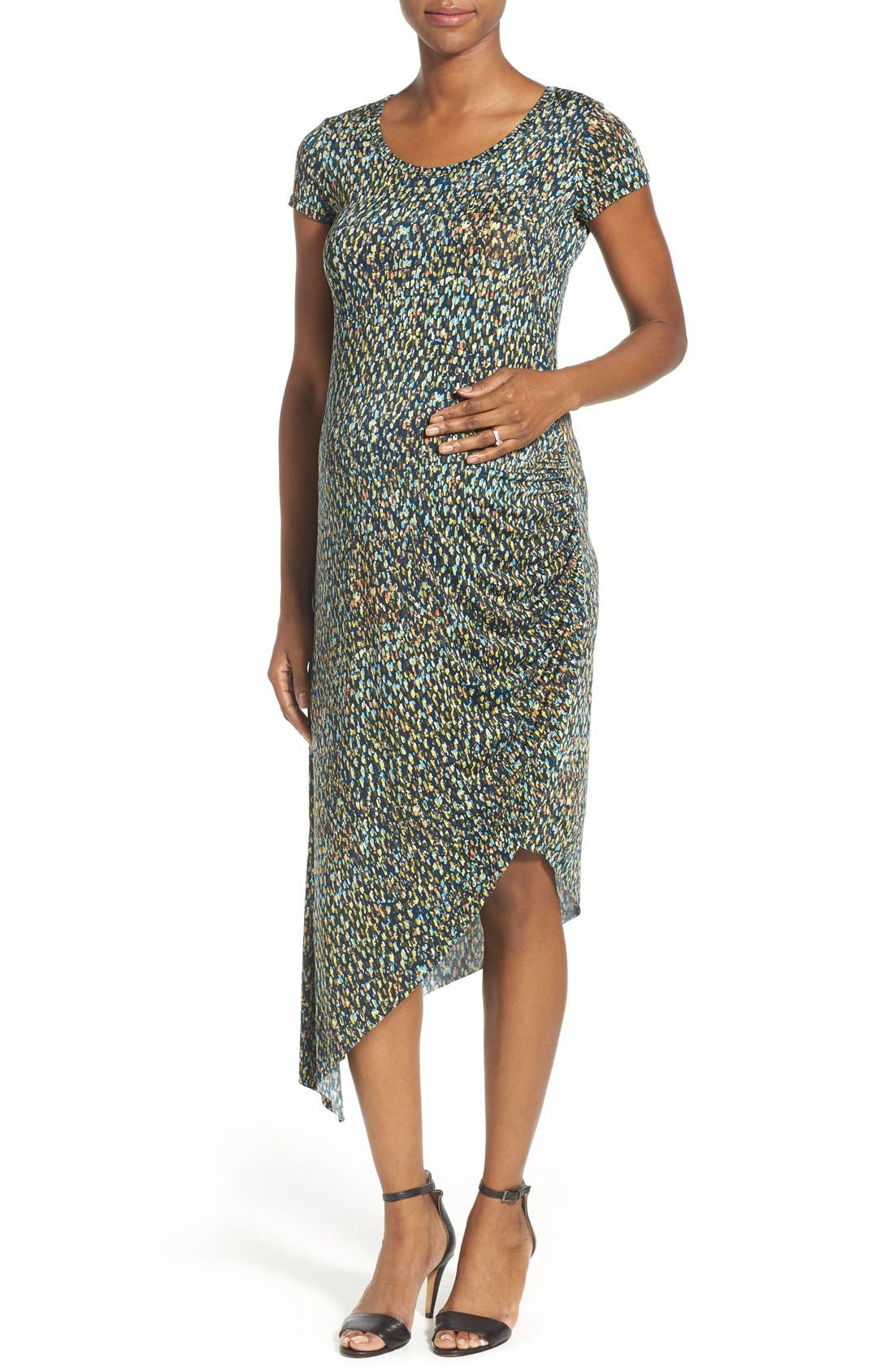 Print Side Ruched Maternity Dress,                         Main,                         color, Abstract Graphic Print