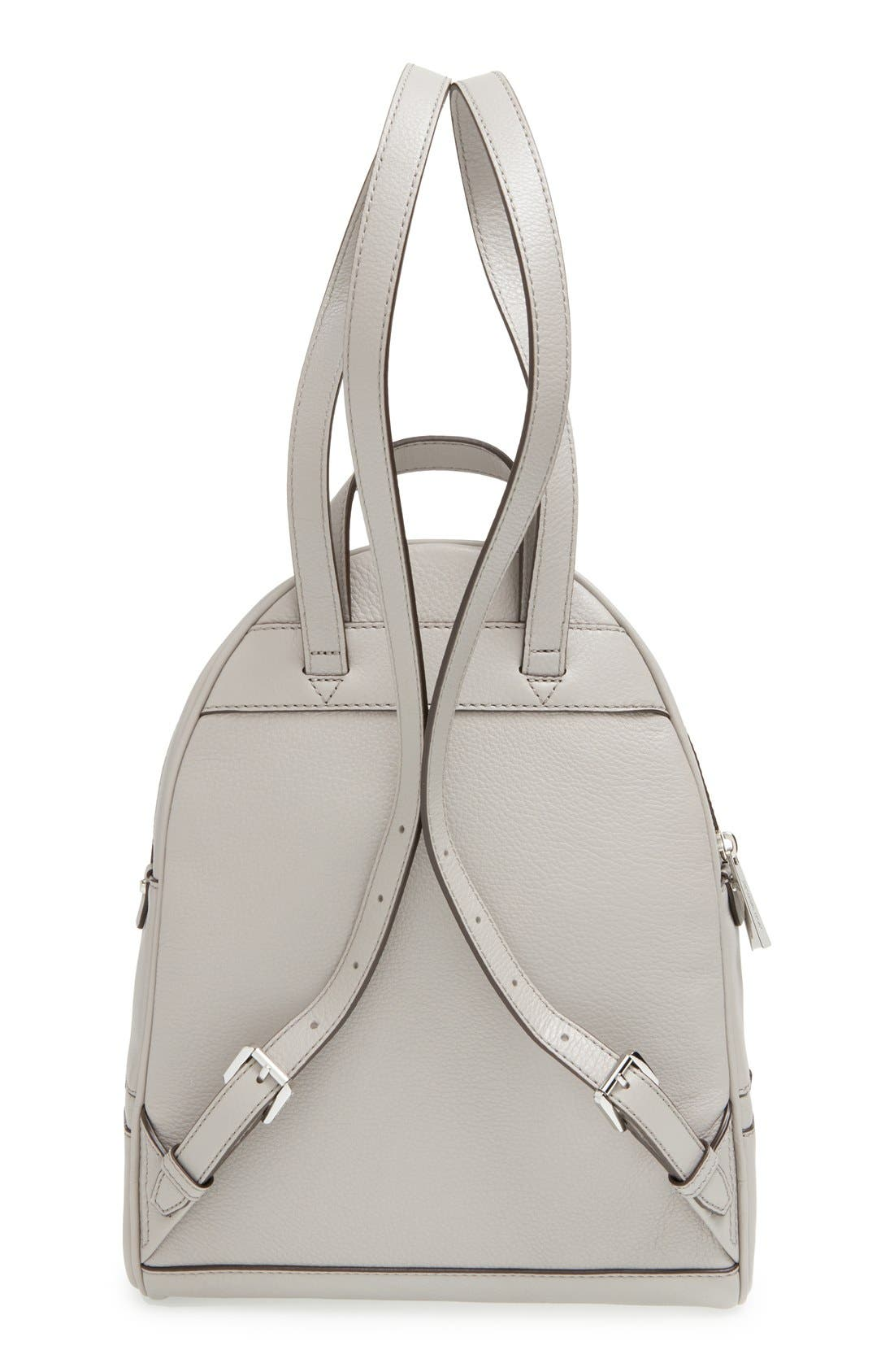 'Small Rhea Zip' Leather Backpack,                             Alternate thumbnail 5, color,                             Pearl Grey/ Silver