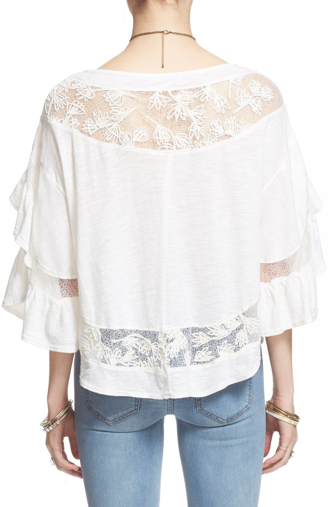 'Love Affair' Lace Inset Knit Top,                             Alternate thumbnail 3, color,                             Ivory