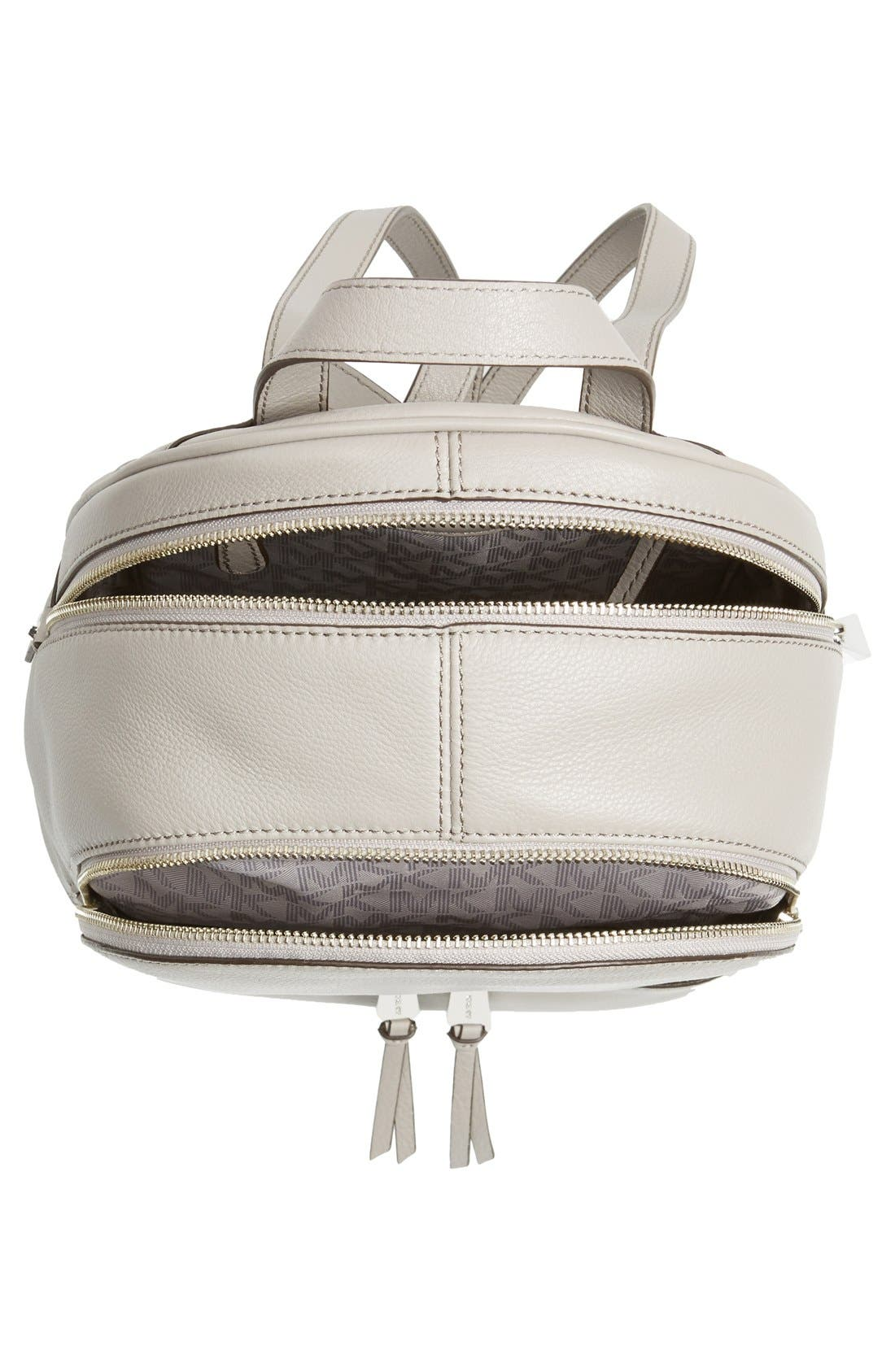 'Small Rhea Zip' Leather Backpack,                             Alternate thumbnail 3, color,                             Pearl Grey/ Silver
