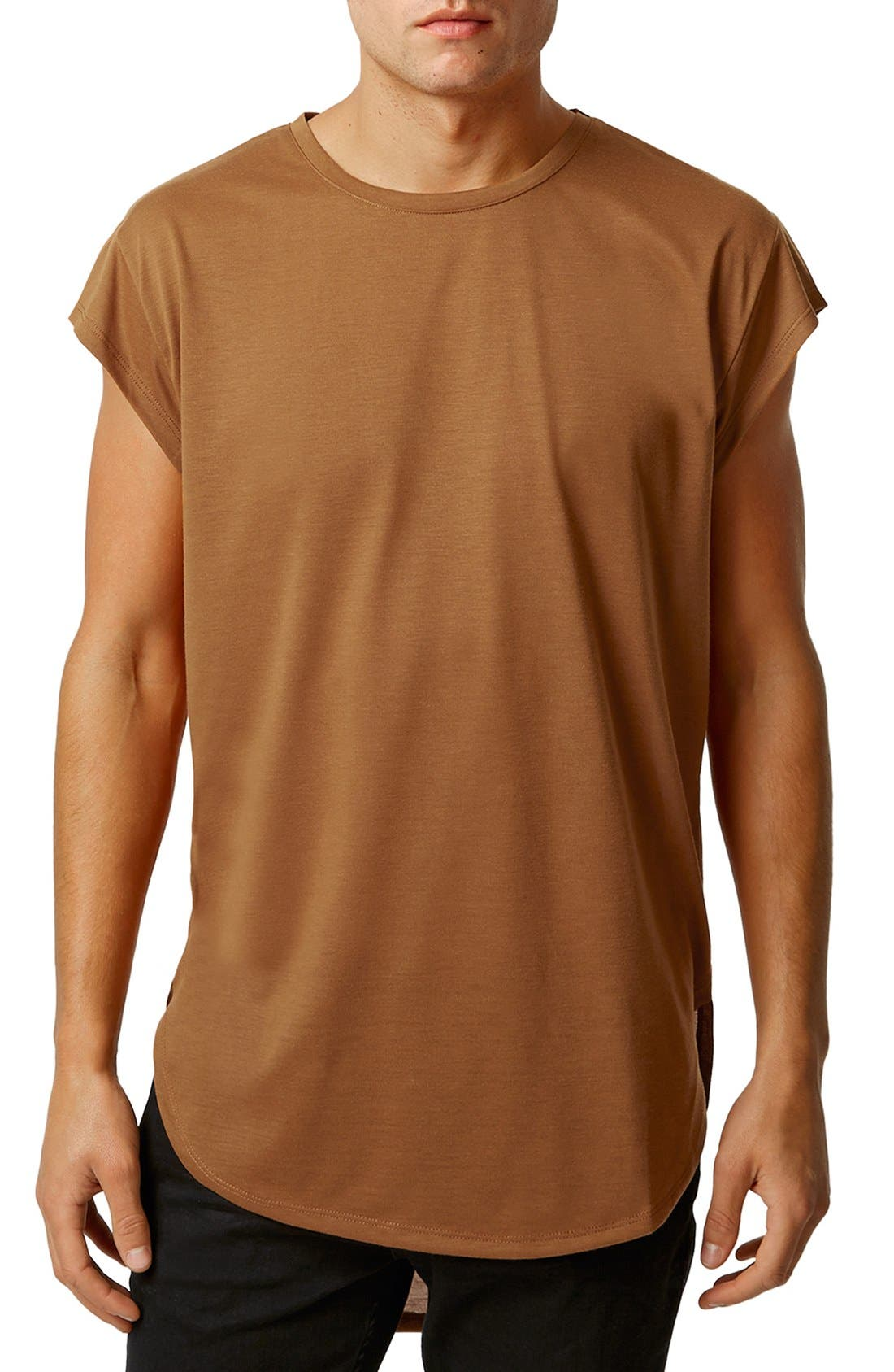 Longline Cap Sleeve T-Shirt,                             Main thumbnail 1, color,                             Mustard