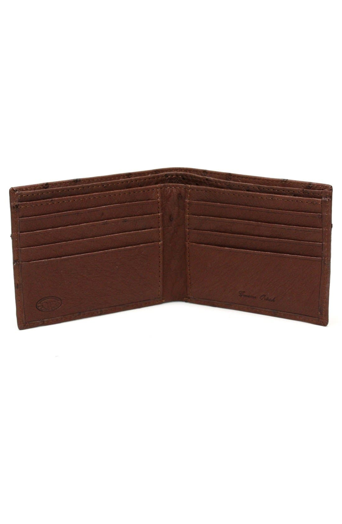 Genuine Ostrich Bifold Wallet,                             Alternate thumbnail 2, color,                             Brown
