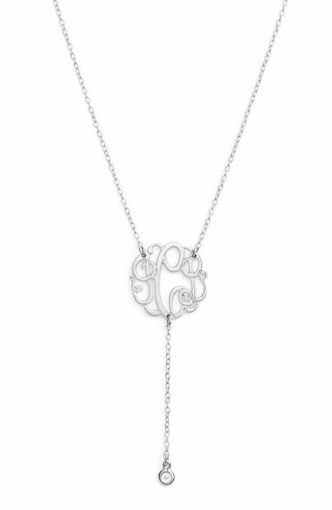 Personalized Three Initial Y-Necklace,                         Main,                         color, Silver