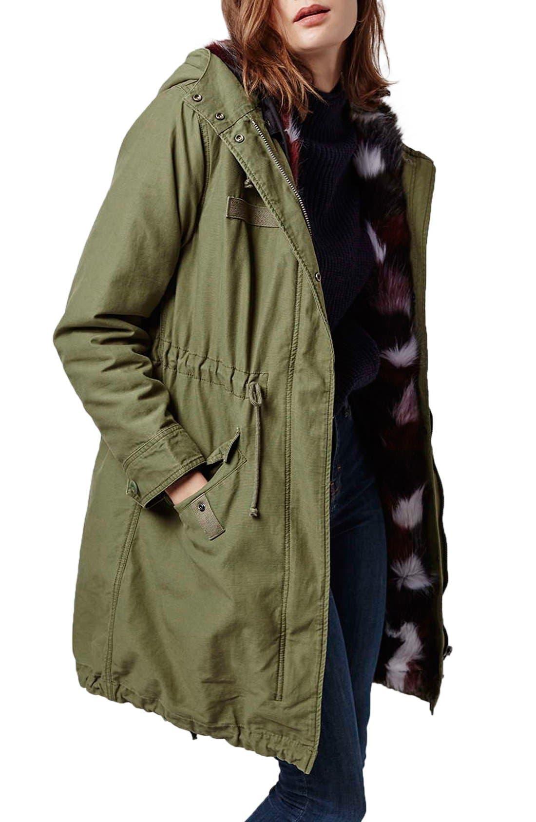 Main Image - Topshop Patchwork Faux Fur Lined Parka