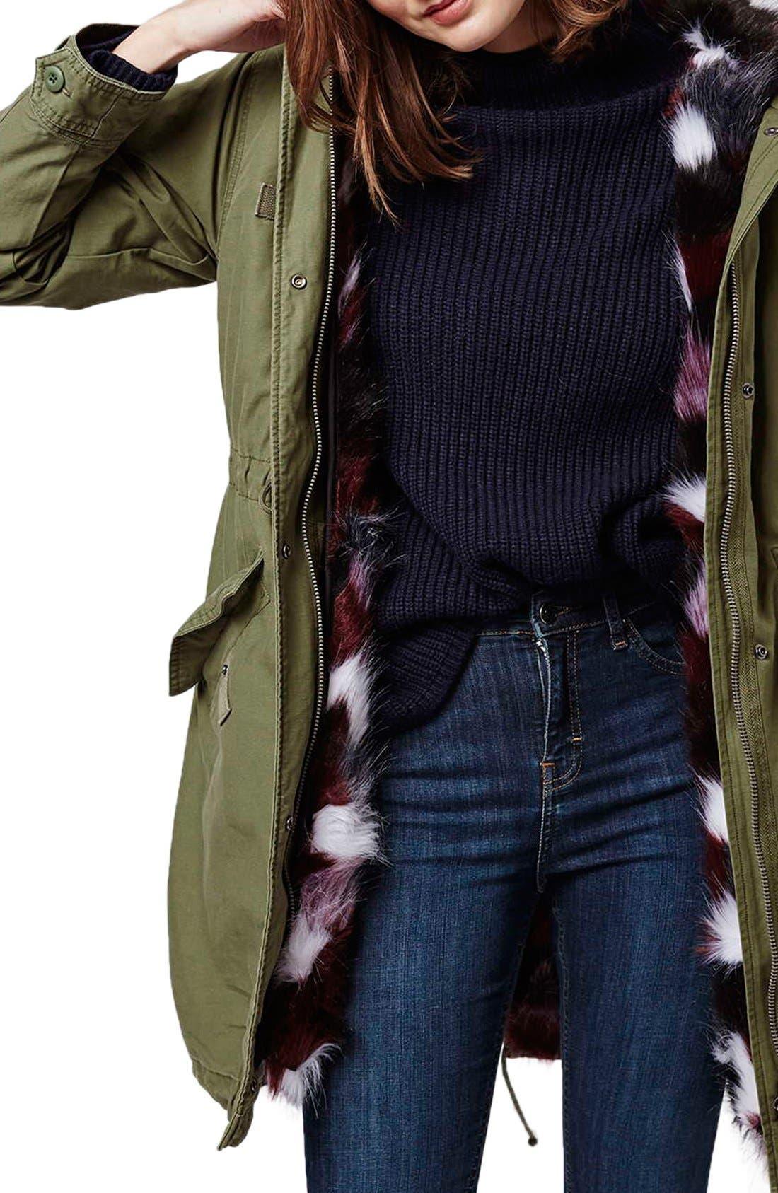 Alternate Image 5  - Topshop Patchwork Faux Fur Lined Parka