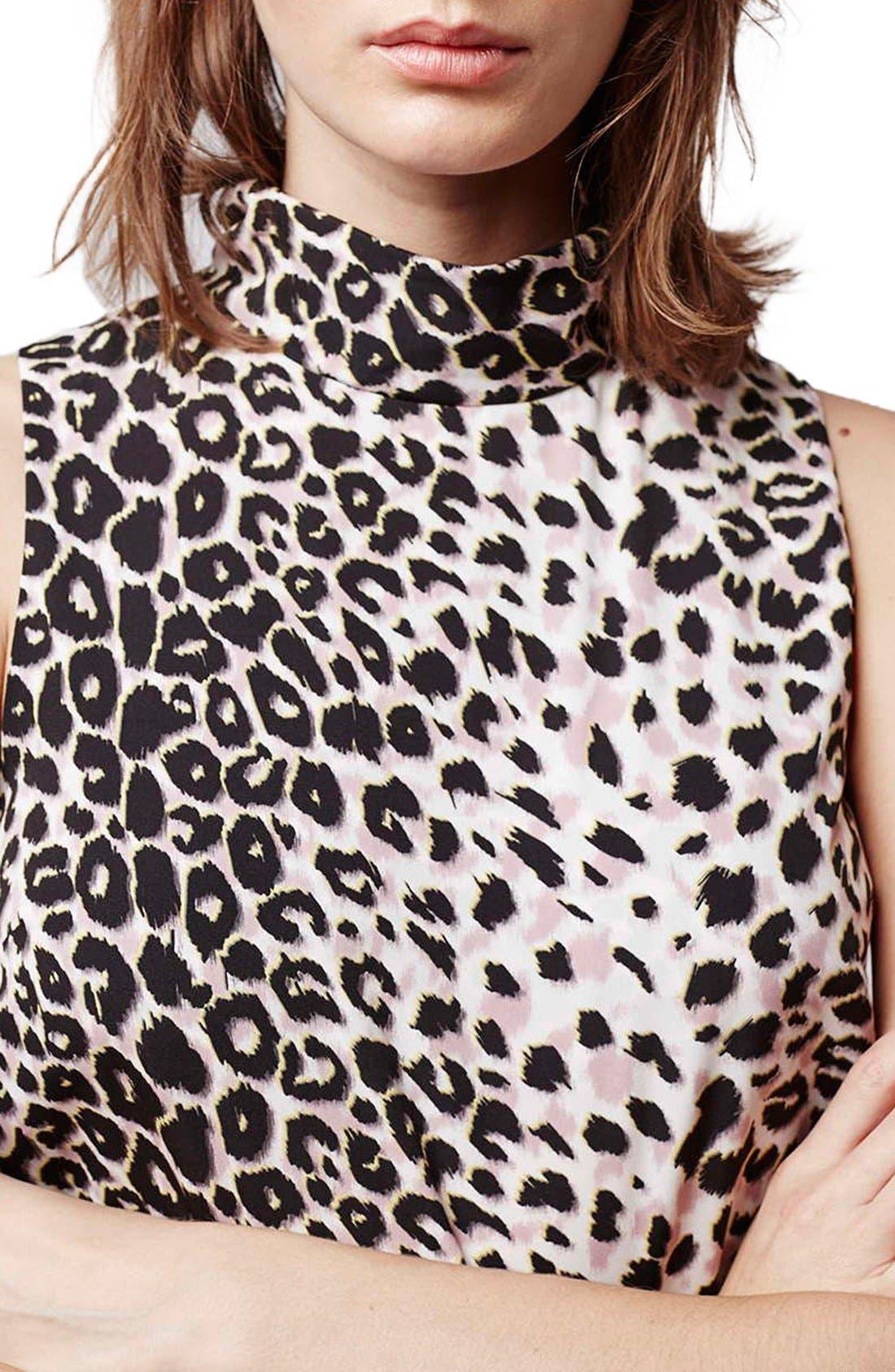 Leopard Print Funnel Neck Tunic Dress,                             Alternate thumbnail 5, color,                             Grey Multi