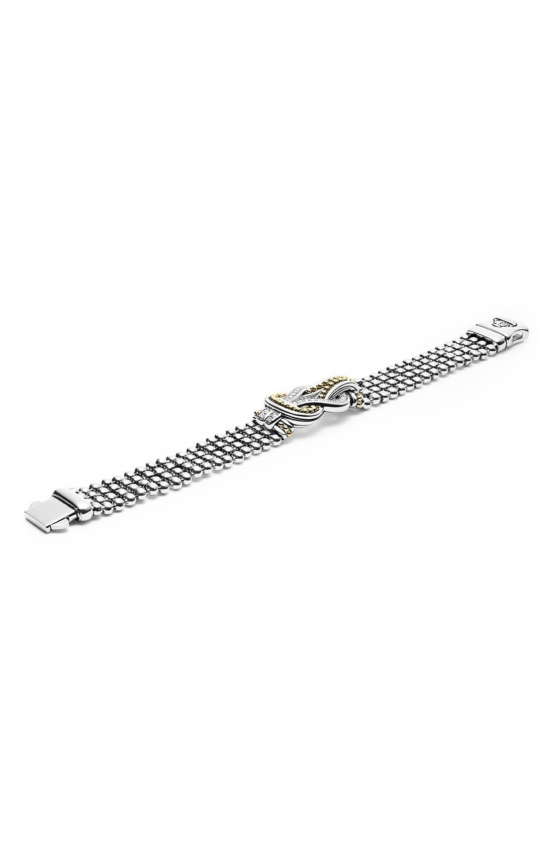 'Newport' Diamond Knot Flat Caviar Bracelet,                             Alternate thumbnail 2, color,                             Silver/ Gold