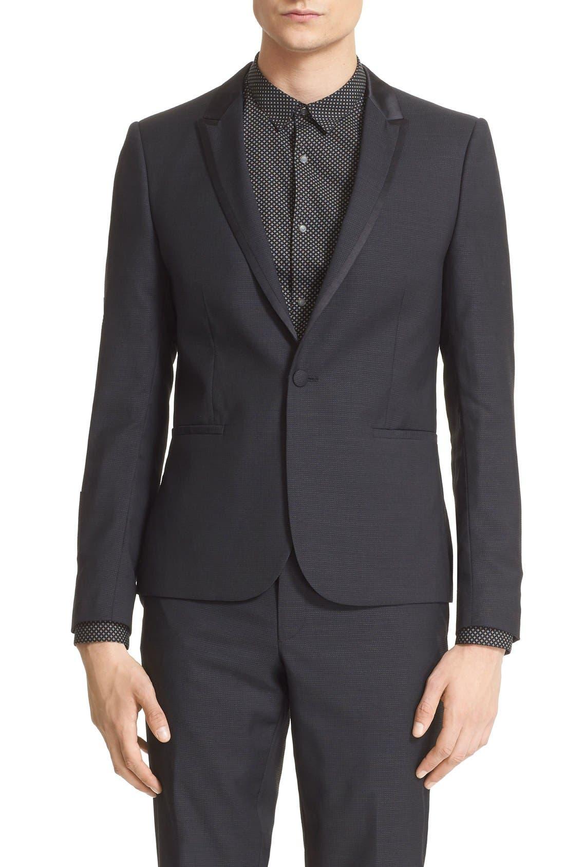 'Netting' Trim Fit Suit Jacket,                             Alternate thumbnail 7, color,                             Black