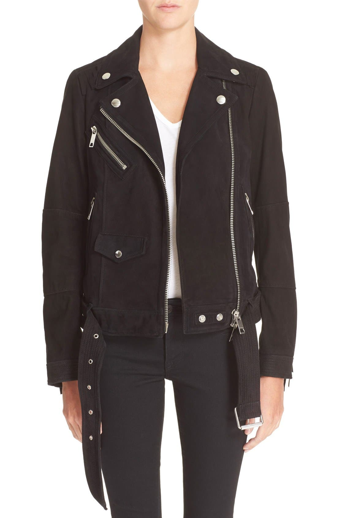 Main Image - Burberry Brit 'Arnstead' Short Belted Suede Moto Jacket
