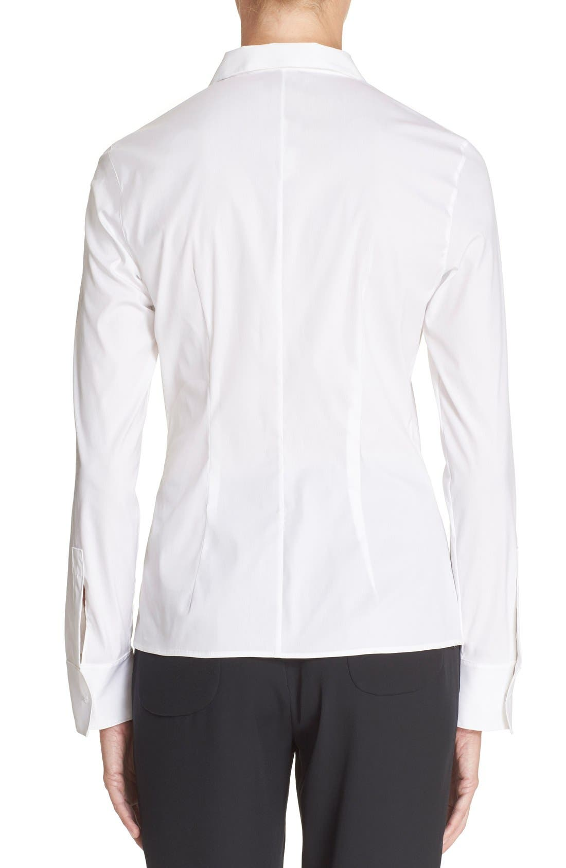 Cotton Poplin Blouse,                             Alternate thumbnail 2, color,                             White