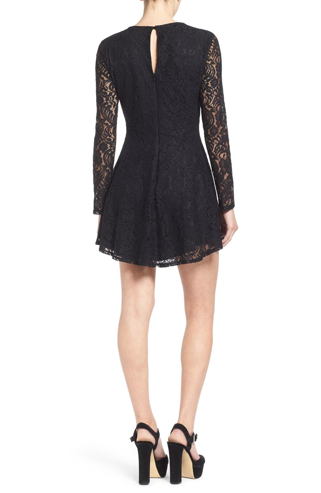 Alternate Image 2  - Lush Floral Lace Fit & Flare Dress