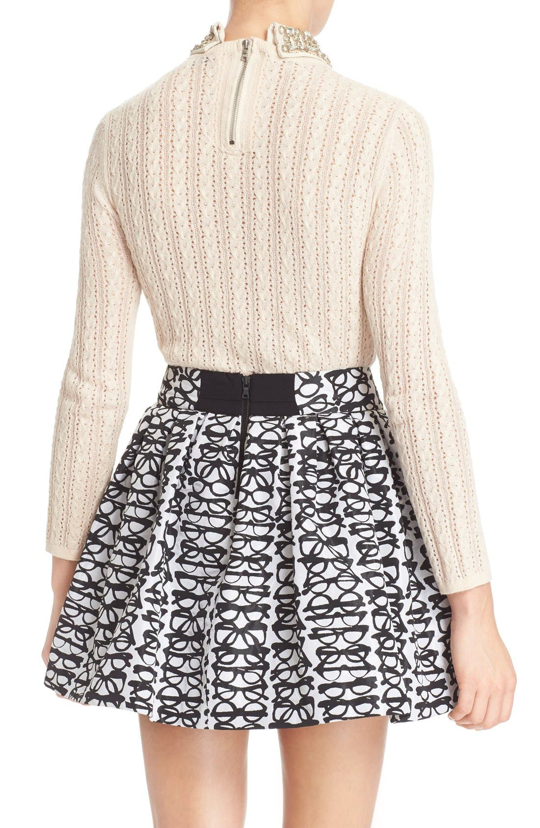 Alternate Image 2  - Alice + Olivia 'Tamsin' Embellished Collar Pointelle Cable Sweater