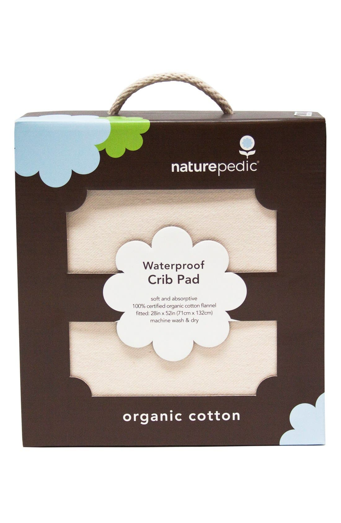 Organic Cotton Waterproof Fitted Crib Protector Pad,                             Alternate thumbnail 5, color,                             Natural