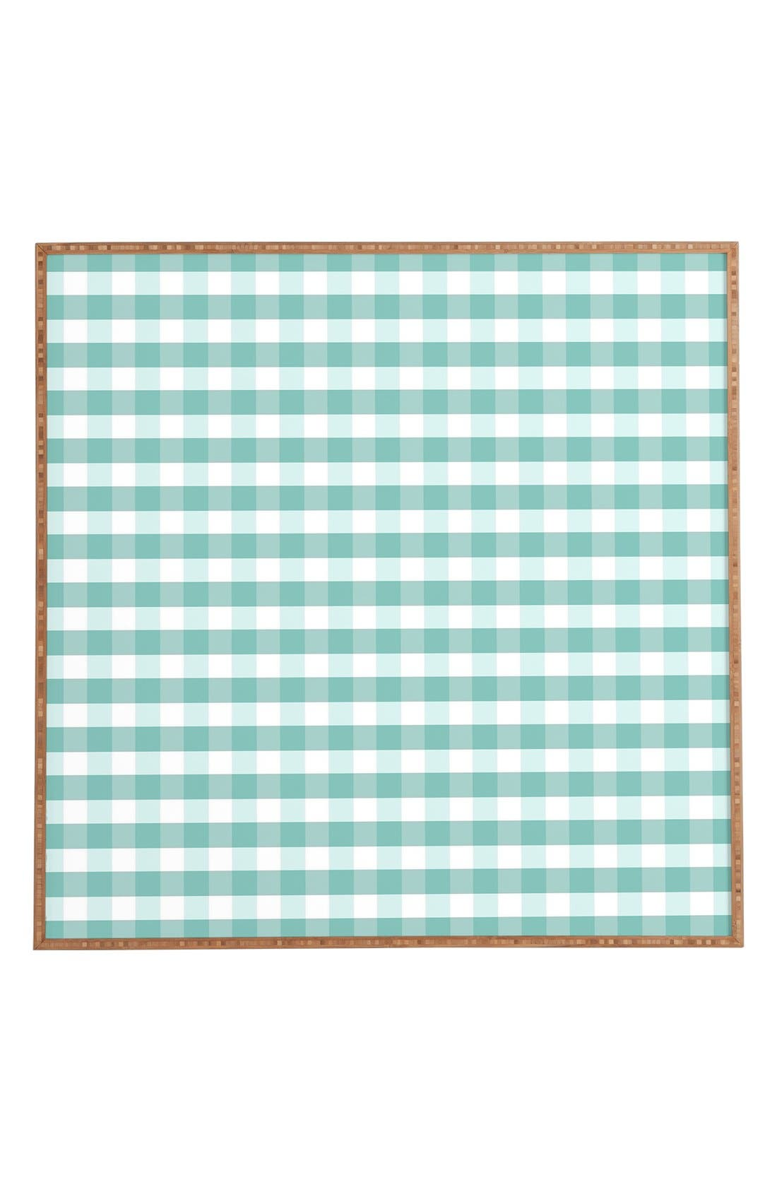 'Icy Gingham' Framed Wall Art,                             Main thumbnail 1, color,                             Blue