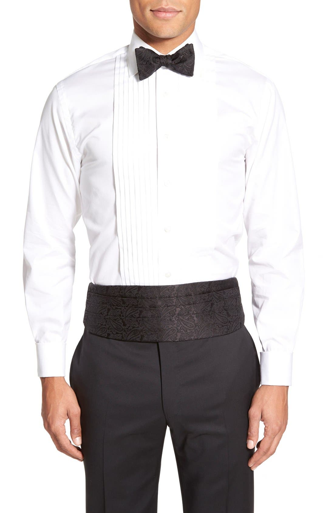 'Protocol' Paisley Silk Cummerbund & Bow Tie Set,                         Main,                         color, Black