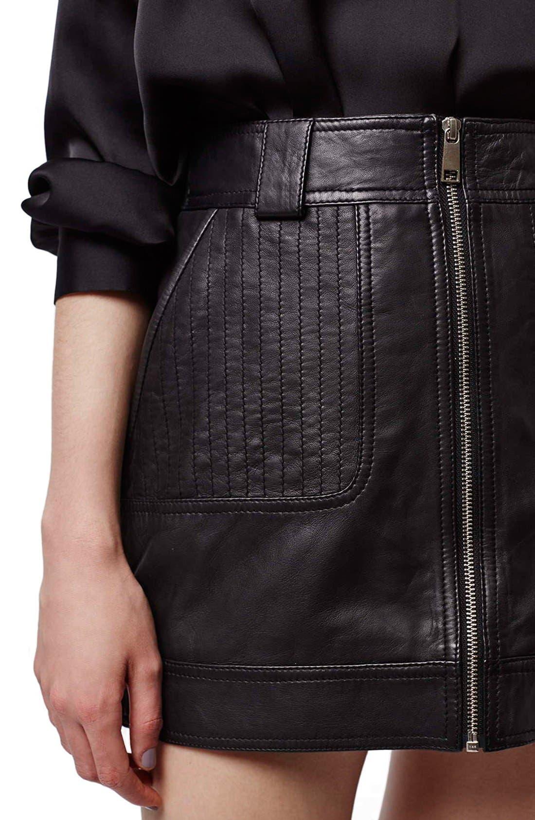 Alternate Image 5  - Topshop Uber Leather Miniskirt