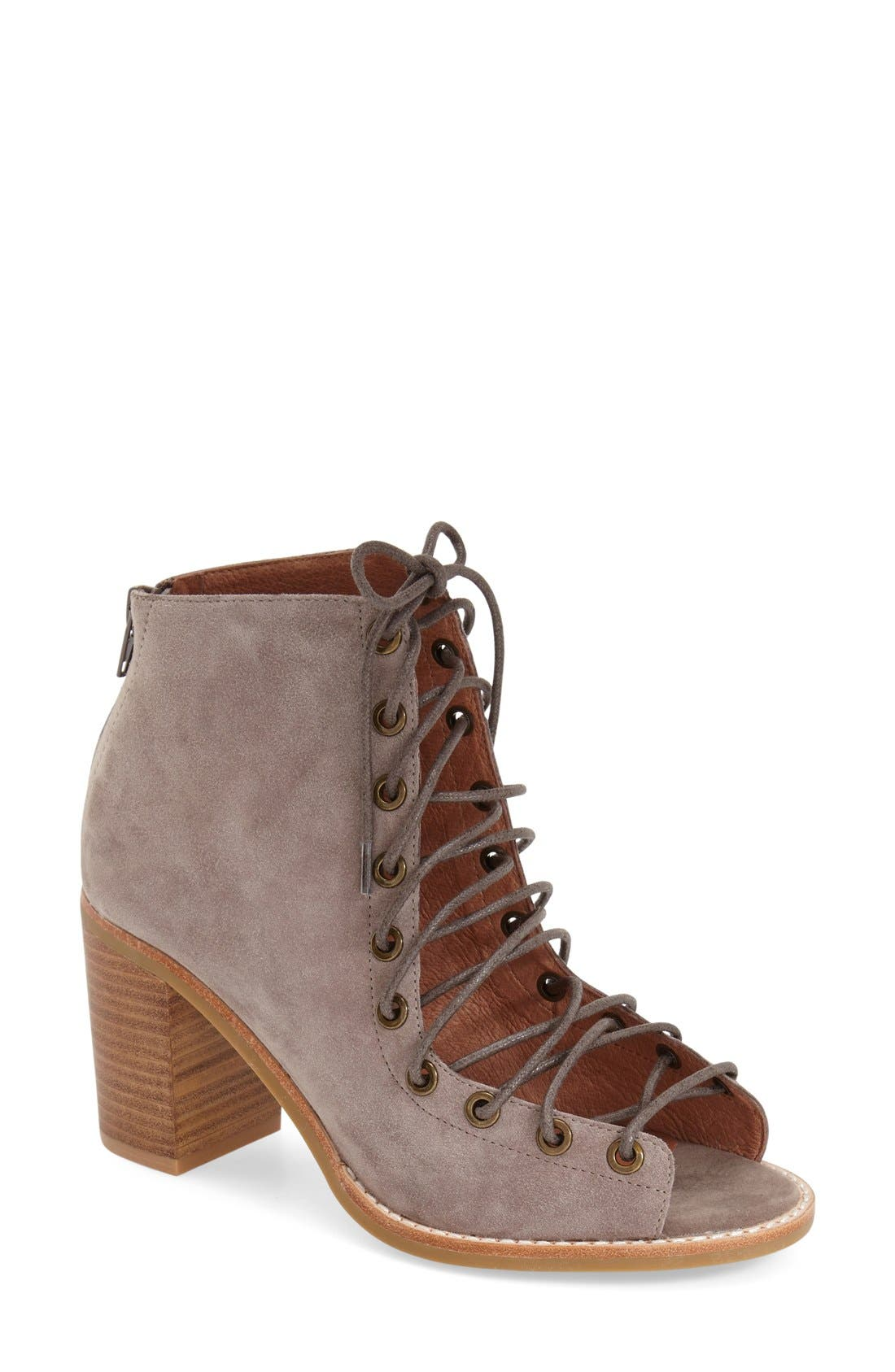 'Cors' Suede Peep Toe Bootie,                             Main thumbnail 1, color,                             Taupe Suede
