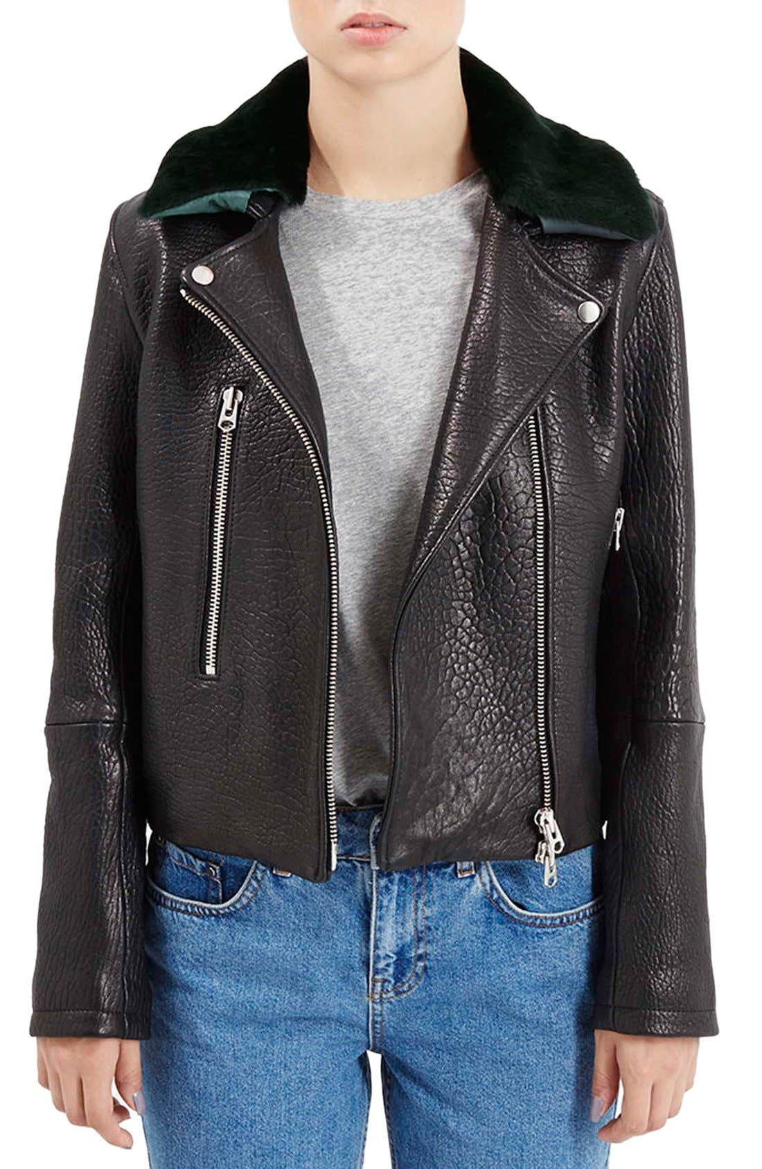 Main Image - Topshop Boutique Leather Moto Jacket with Shearling Collar