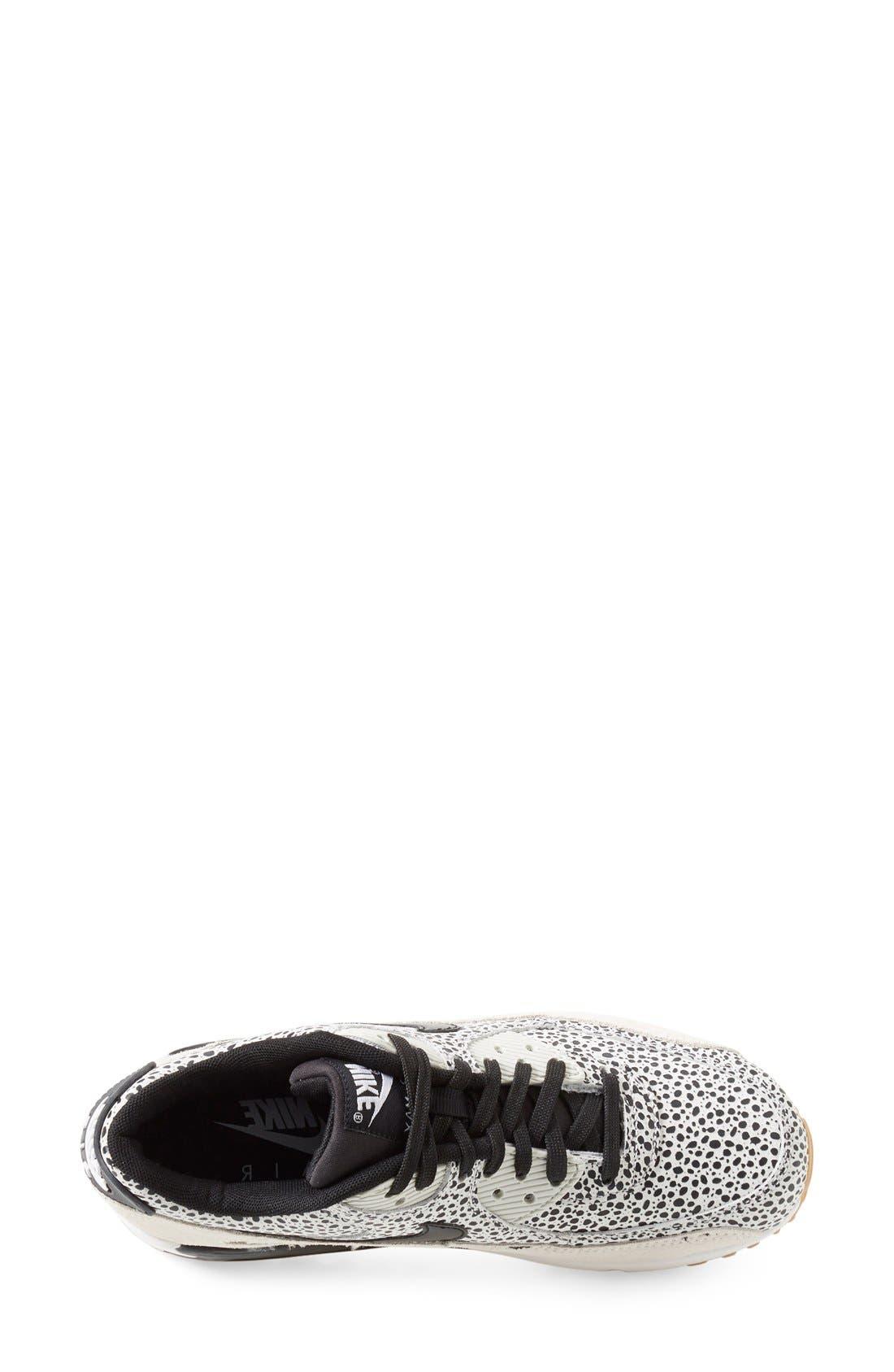 'Air Max 90 - Premium' Sneaker,                             Alternate thumbnail 3, color,                             White/ Black/ Brown