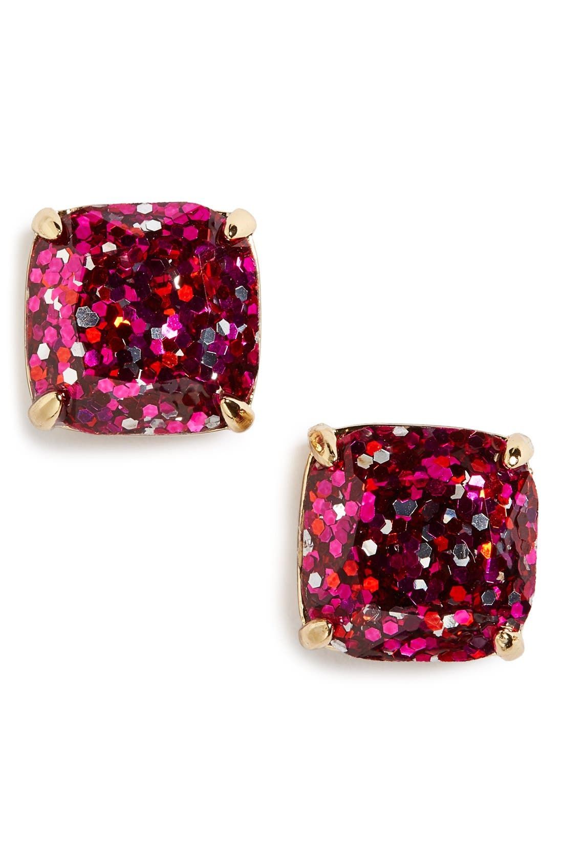 glitter stud earrings,                             Main thumbnail 1, color,                             Pink Multi Glitter