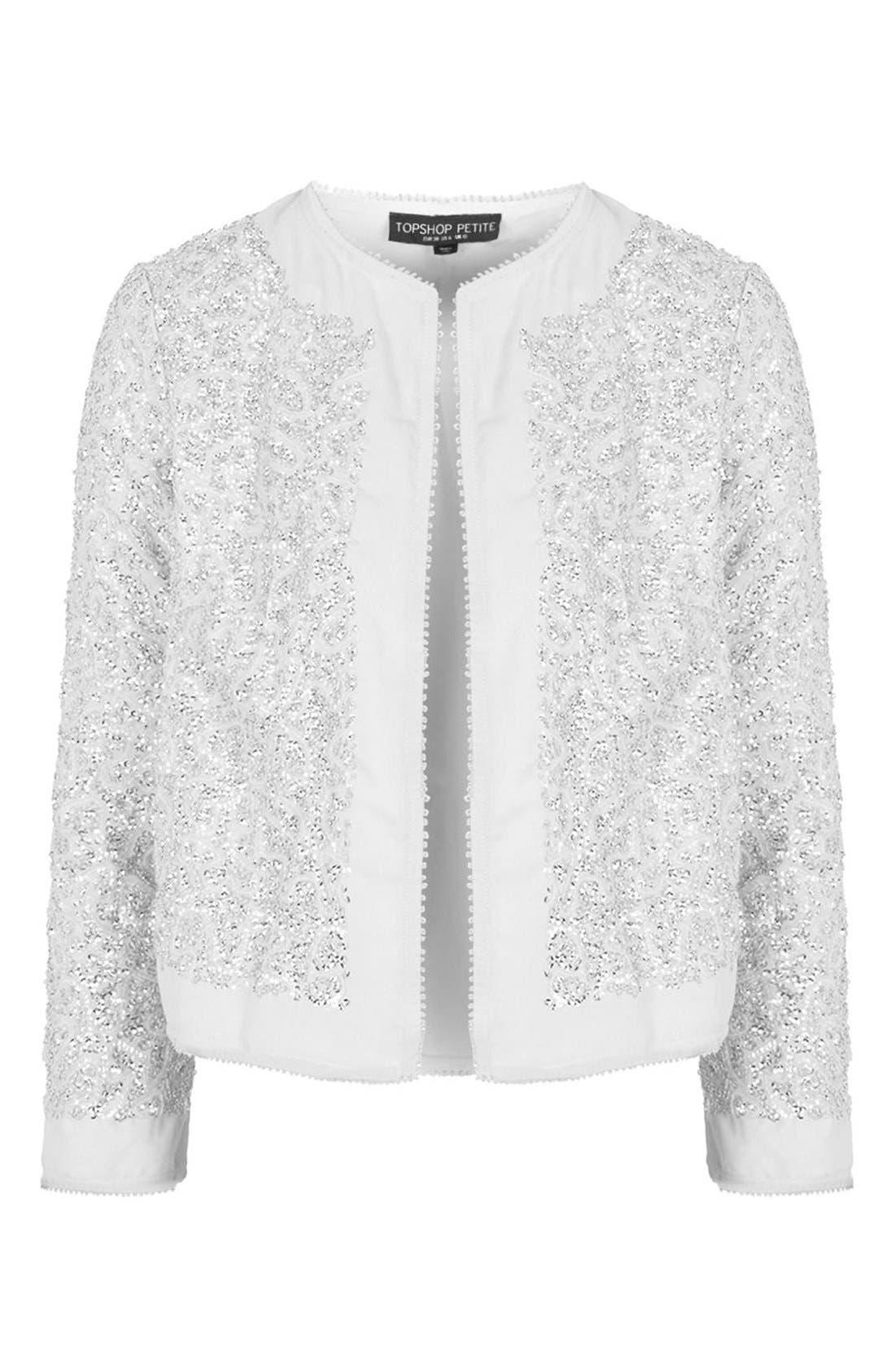 Alternate Image 4  - Topshop Sequin Embellished Jacket (Petite)
