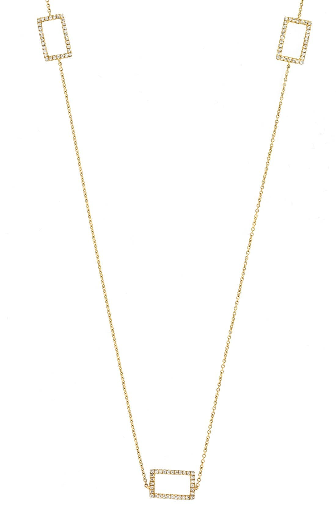 Three Rectangle Diamond Station Necklace,                         Main,                         color, Yellow Gold