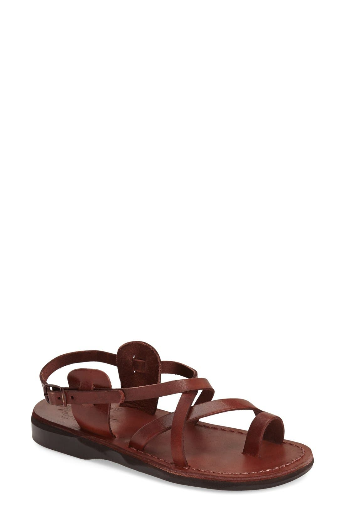 'The Good Shepard' Strappy Sandal,                             Main thumbnail 1, color,                             Brown Leather