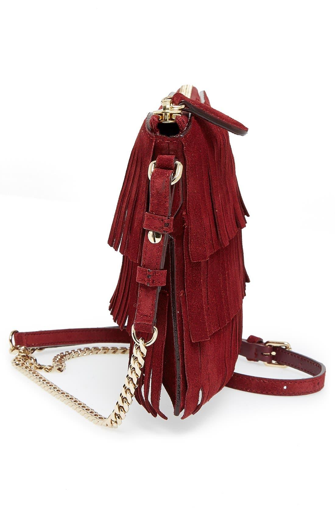 'Peyton' Fringe Suede Crossbody Bag,                             Alternate thumbnail 5, color,                             Cherry