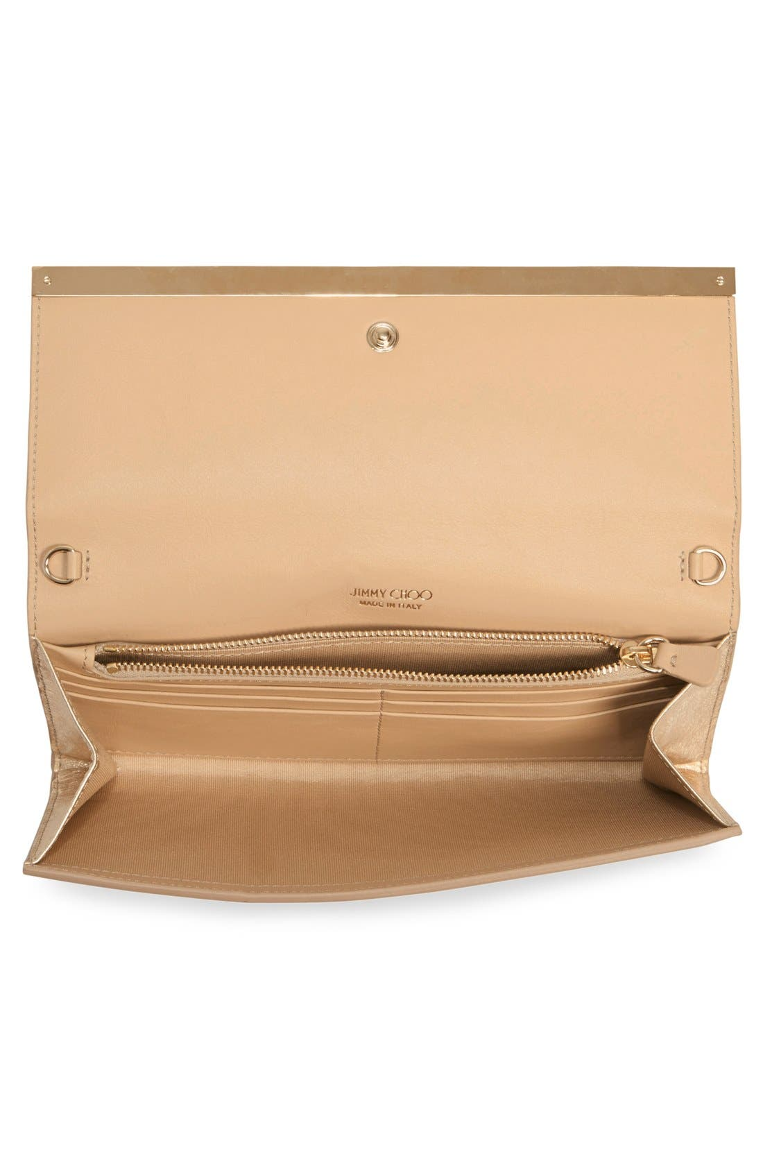 'Milla' Etched Metallic Spazzolato Leather Flap Clutch,                             Alternate thumbnail 3, color,                             Gold