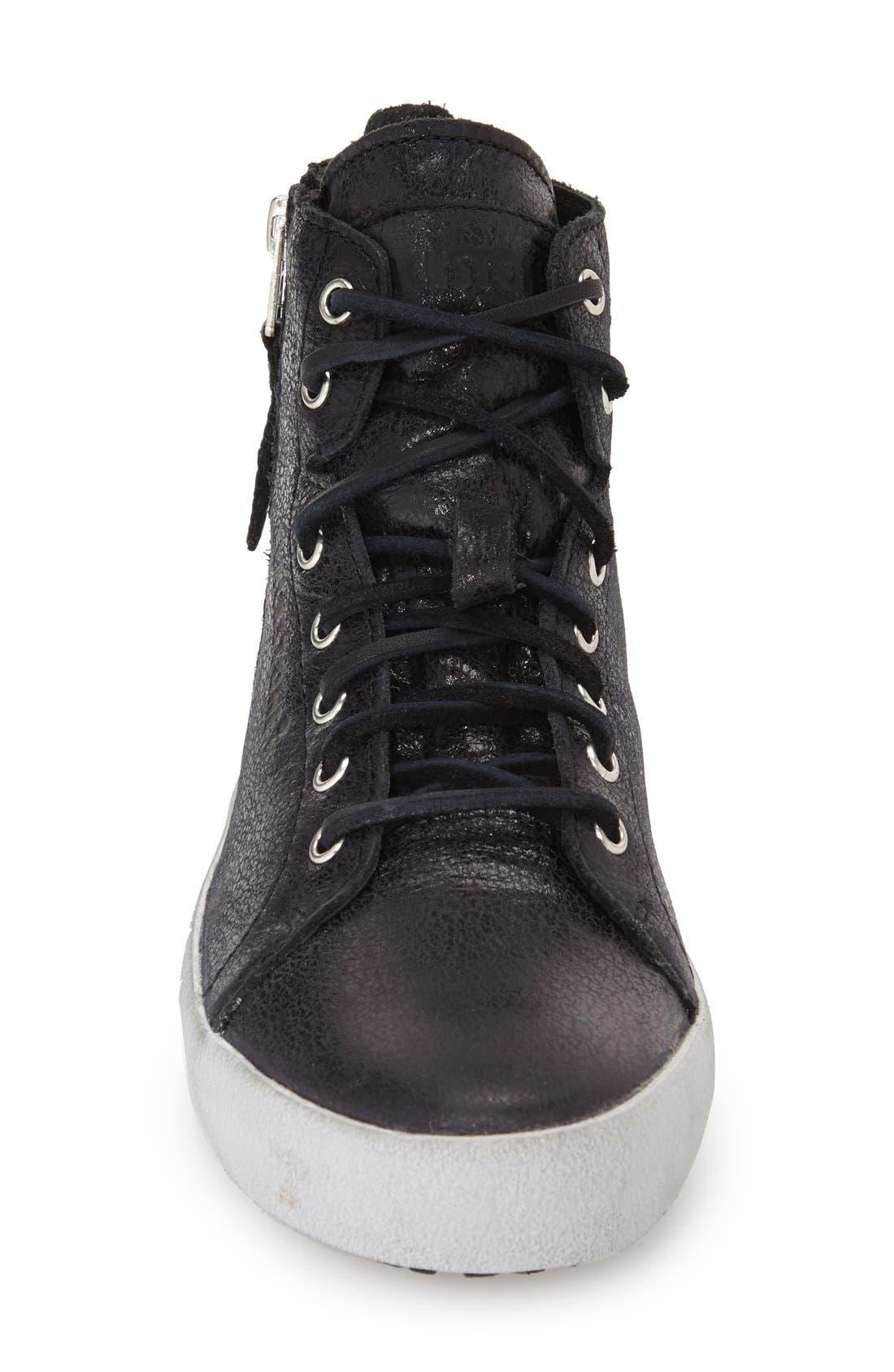 'KL57' High Top Sneaker,                             Alternate thumbnail 3, color,                             Caviar Black Leather