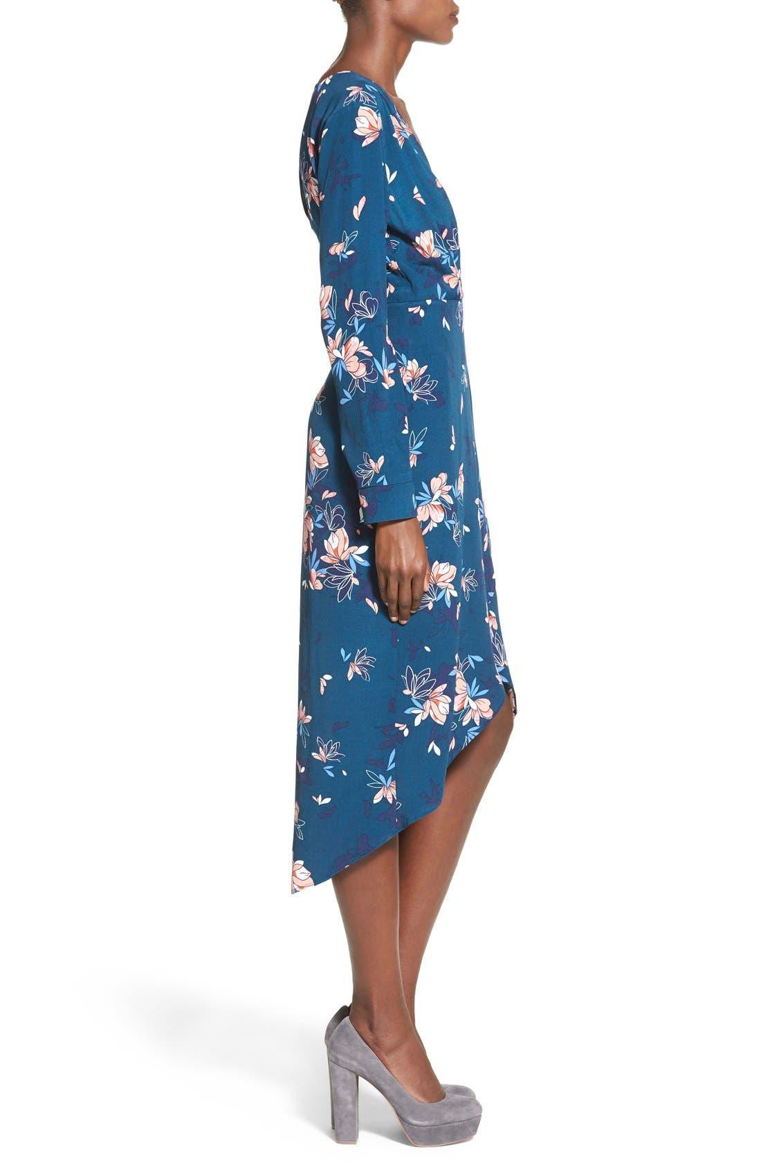 ASTR Wrap Front High/Low Dress,                             Alternate thumbnail 3, color,                             Teal Multi Floral