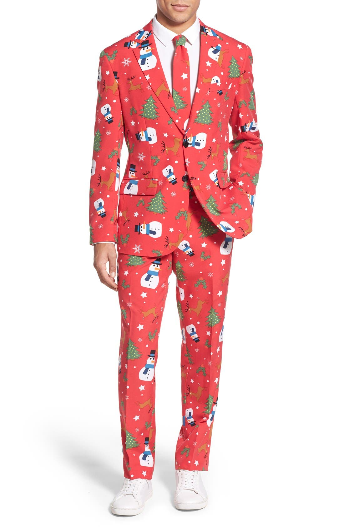 'Christmaster' Holiday Suit & Tie,                             Main thumbnail 1, color,                             Red