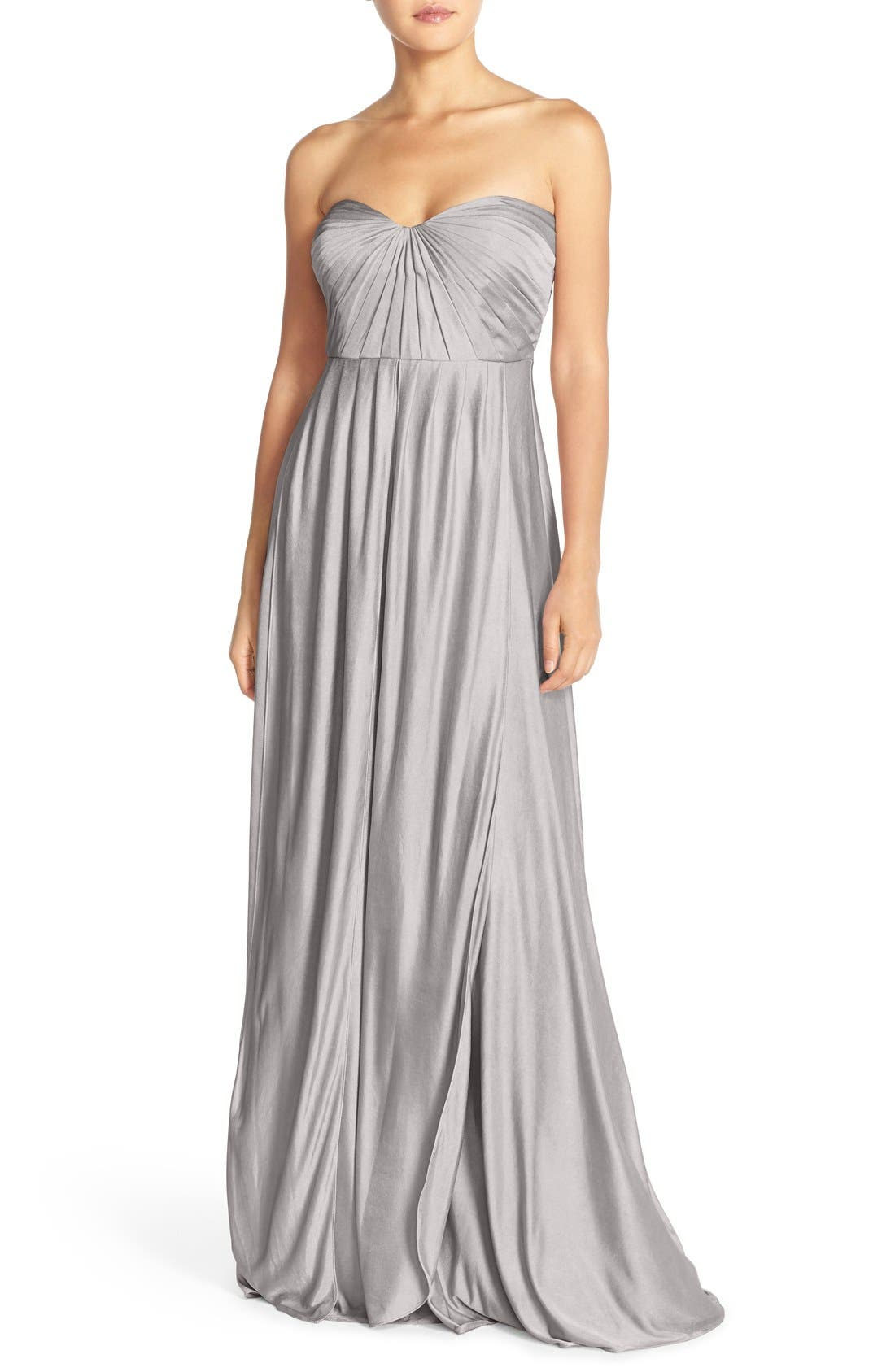 Alternate Image 1 Selected - Jenny Yoo 'Demi' Convertible Strapless Pleat Jersey Gown