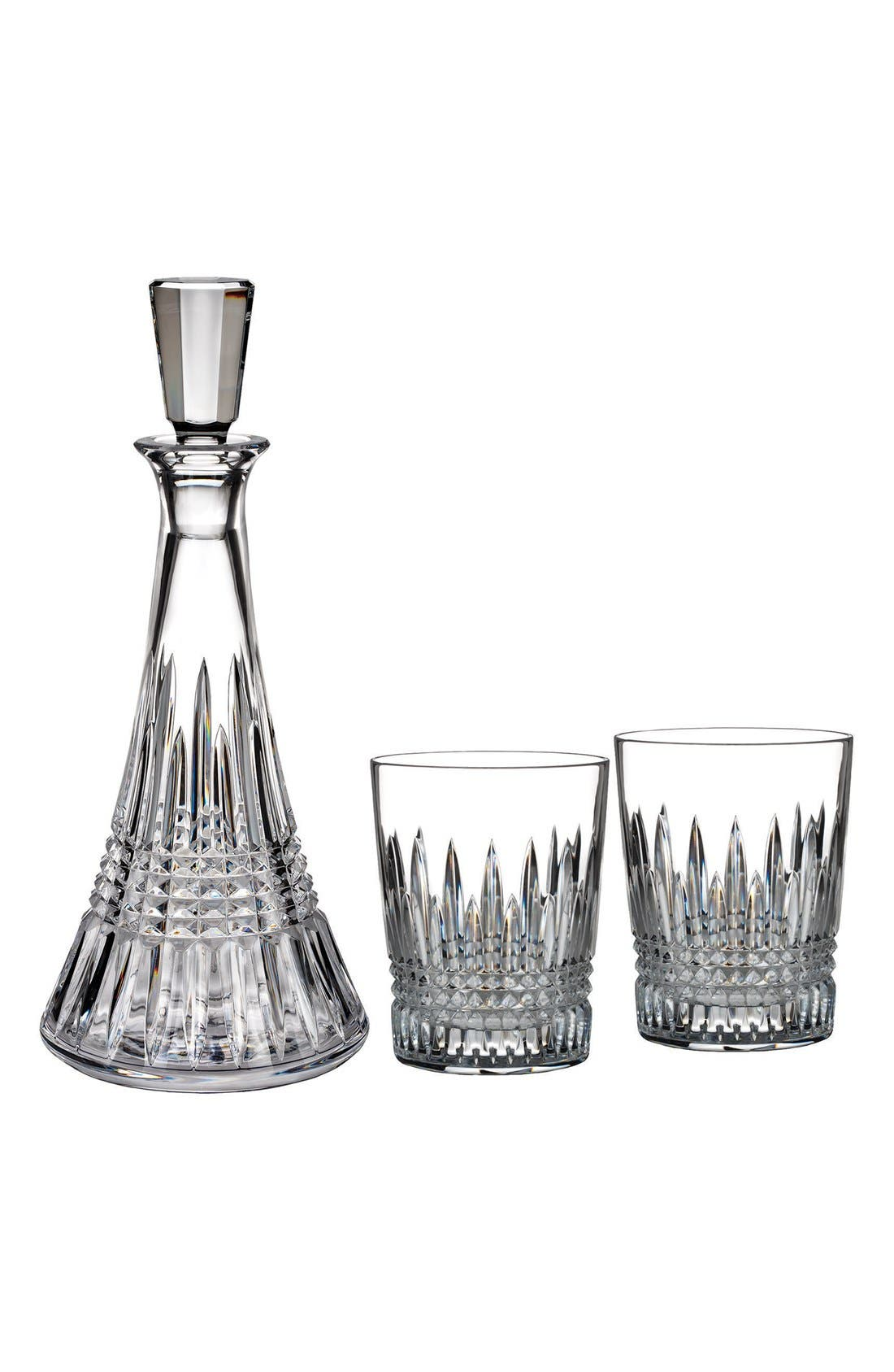 'Lismore Diamond' Lead Crystal Decanter & Double Old-Fashioned Glasses,                         Main,                         color, Clear