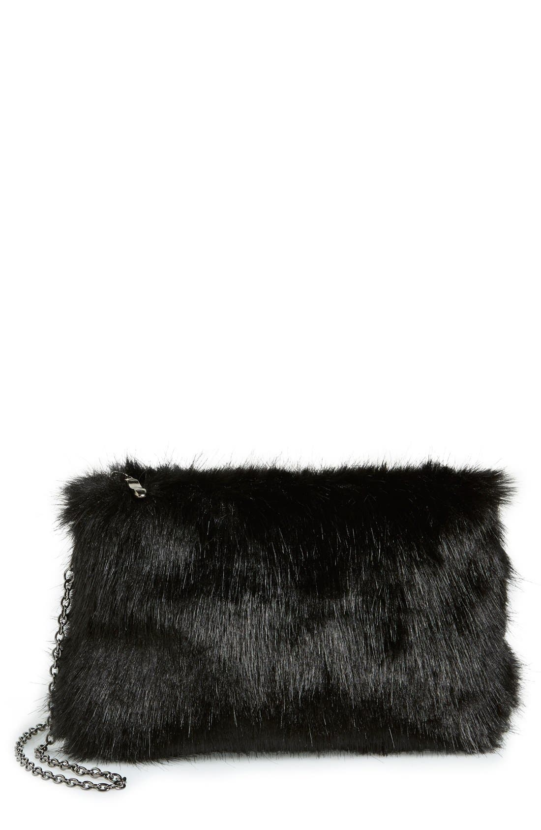 Main Image - No Brand Needed Faux Fur Convertible Clutch