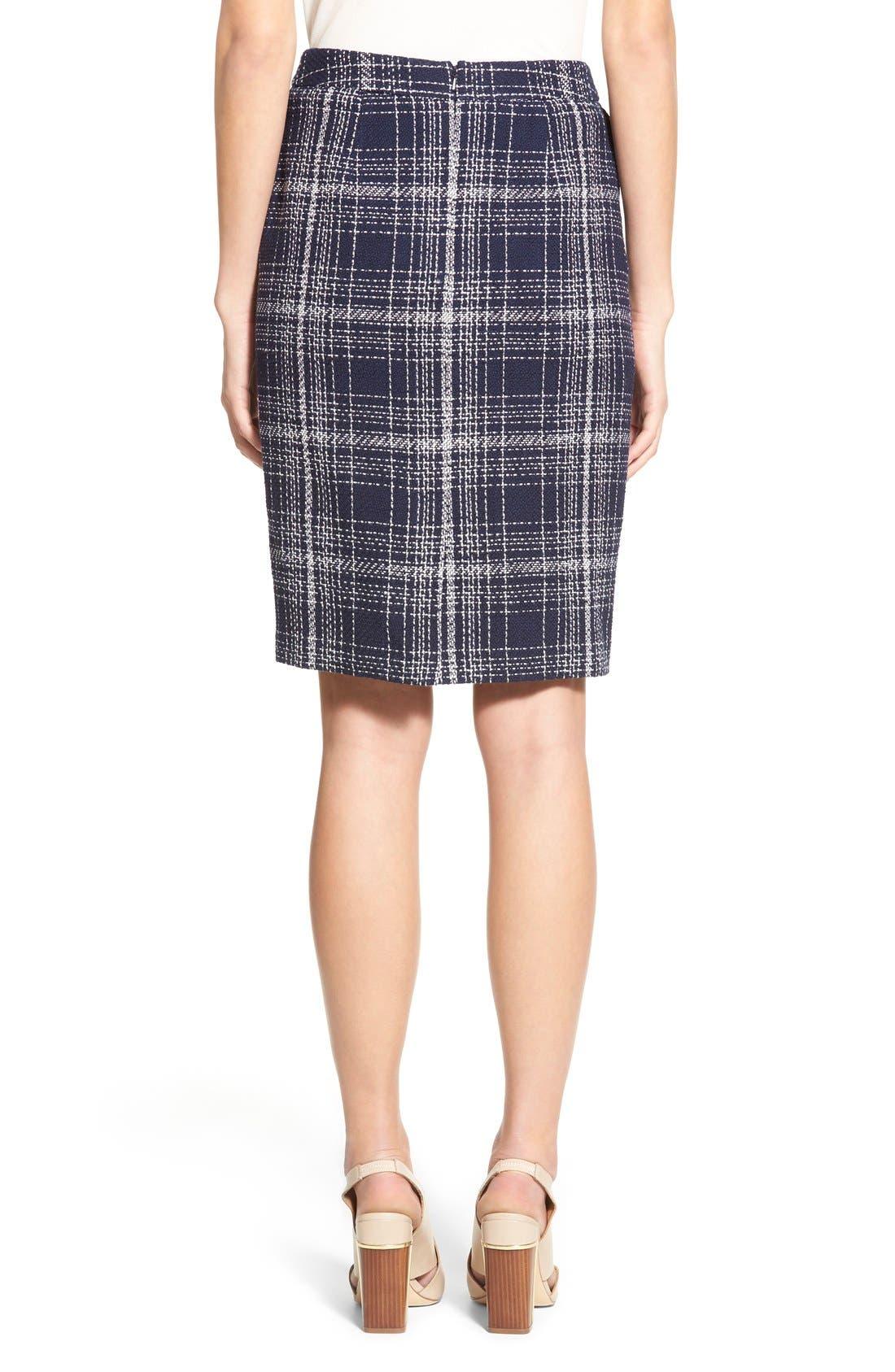 Flap Pocket Tweed Pencil Skirt,                             Alternate thumbnail 3, color,                             Navy Tweed
