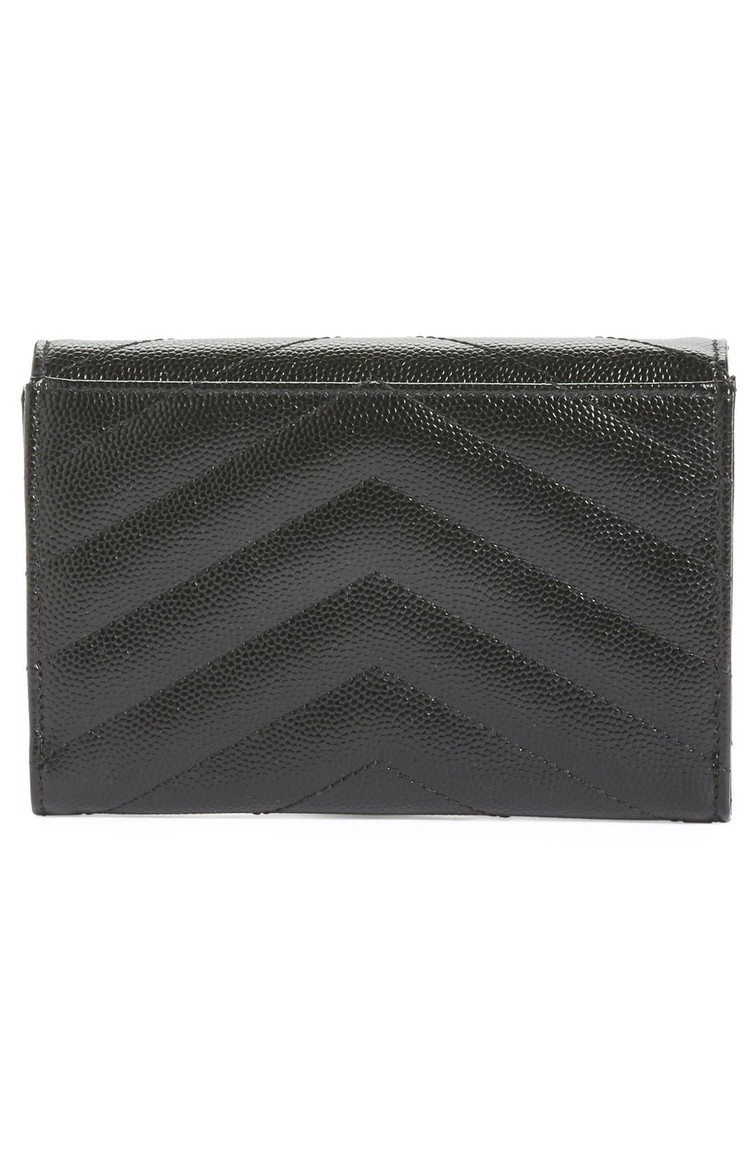 'Monogram' Quilted Leather French Wallet,                             Alternate thumbnail 3, color,                             Noir
