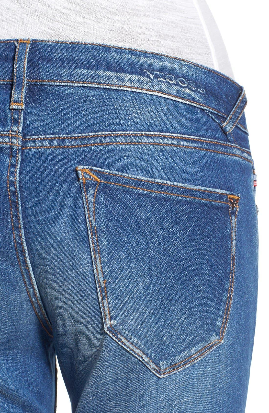 Alternate Image 4  - Vigoss 'Tomboy Thompson' Destructed Jeans (Medium Wash)