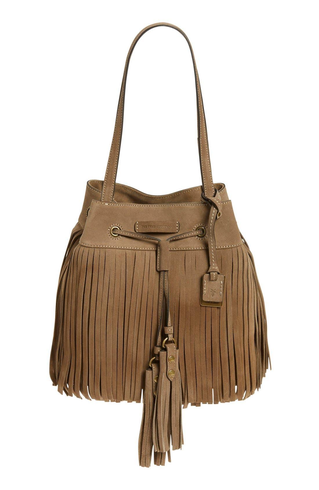 'Heidi' Fringe Suede Bucket Bag,                         Main,                         color, Grey