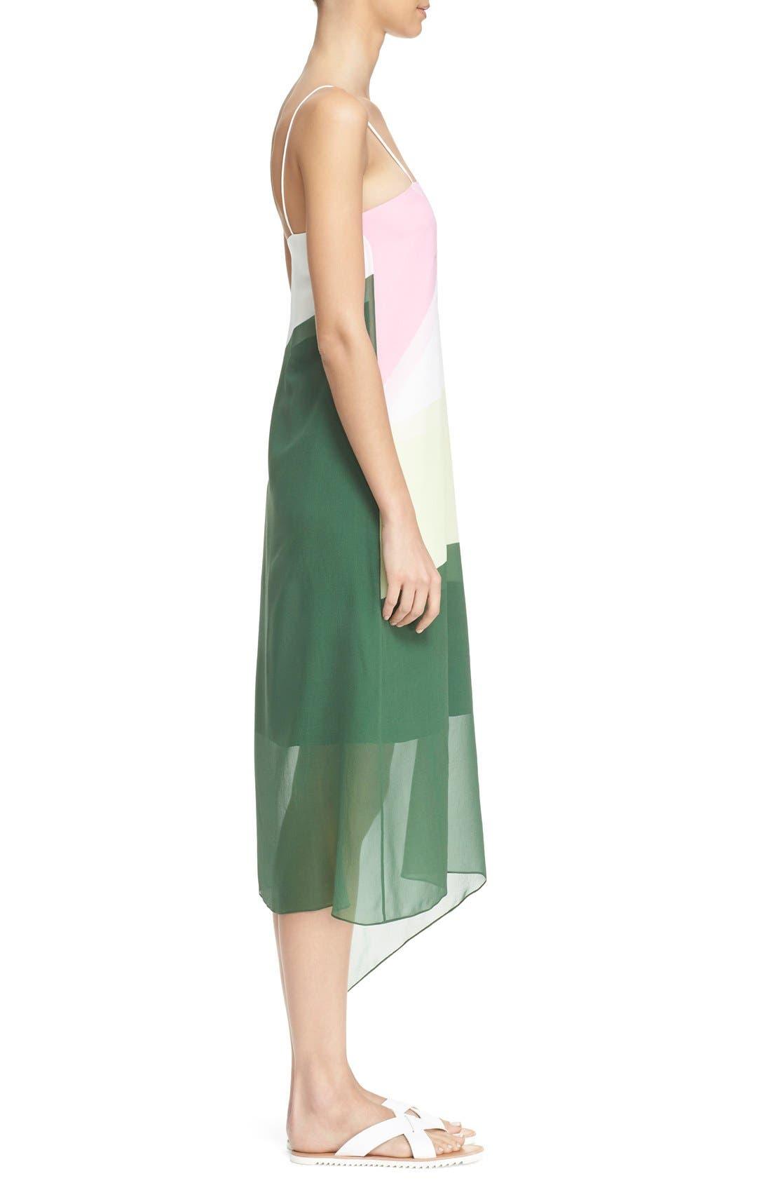 'Pieza' Silk Slipdress,                             Alternate thumbnail 3, color,                             Candy Pink Mul