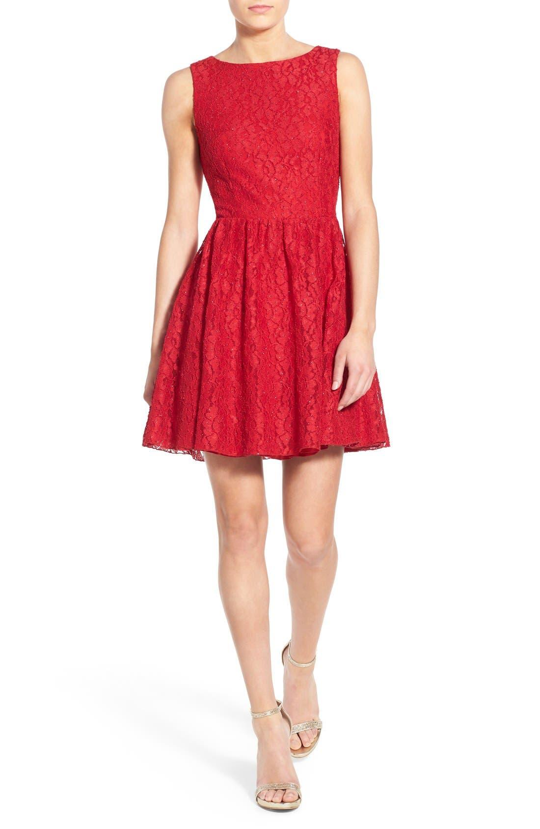 Main Image - Speechless Glitter Lace Skater Dress
