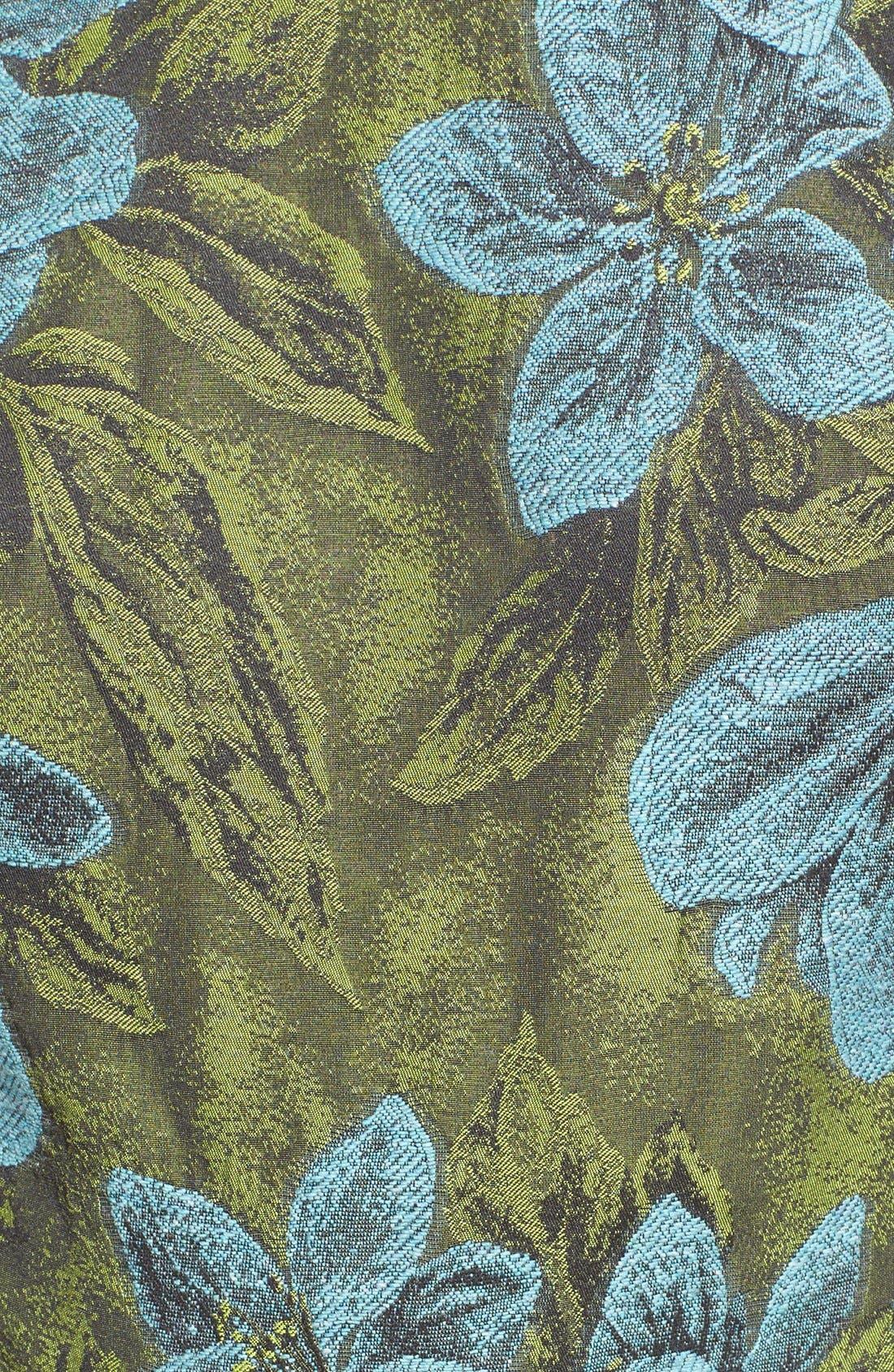 Side Cutout Ruffle Floral Jacquard Dress,                             Alternate thumbnail 5, color,                             Leaf