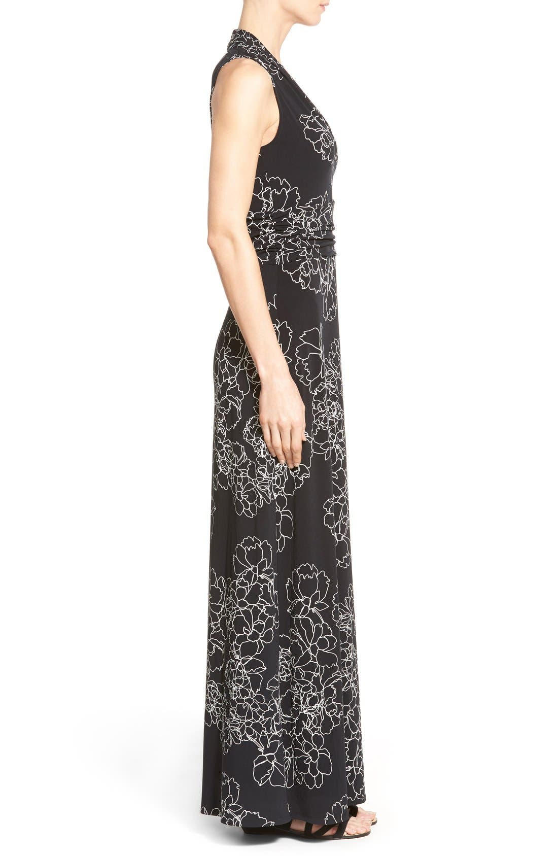 Floral Print Jersey Maxi Dress,                             Alternate thumbnail 3, color,                             Rich Black