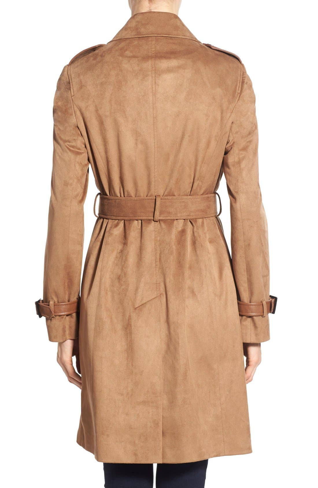 Alternate Image 2  - Via Spiga Double Breasted Faux Suede Trench Coat